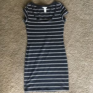 Grey and White Striped T-Shirt Dress